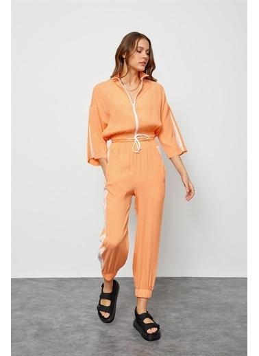 Setre Oranj Fermuarlı Sweatshirt Jogger Eşofman Takım Oranj